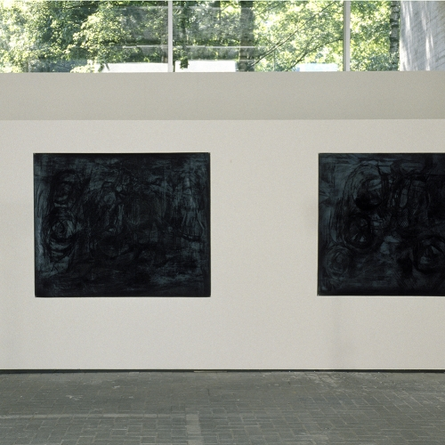 2001 Untitled / Zwart |ABV installation view | charcoal on paper