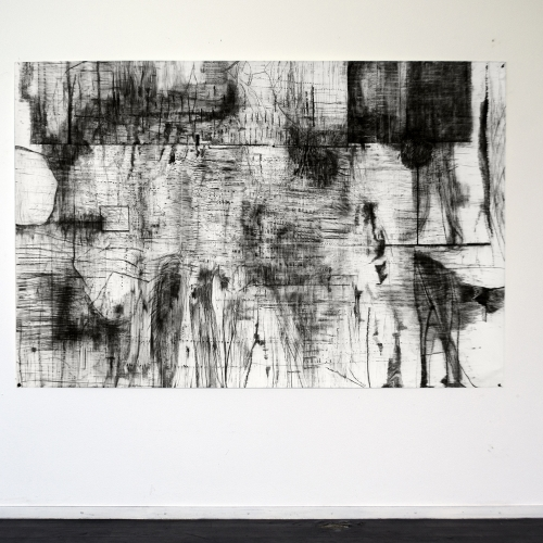 2018 Untitled |152 x 231 cm | charcoal on paper | studio view